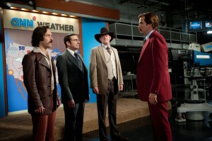 Paul Rudd, Steve Carell, David Koechner, and Will Ferrell in Anchorman 2: The Legend Continues