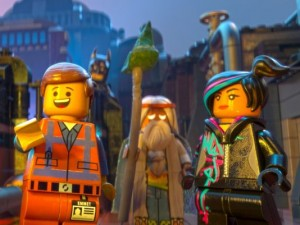 Chris Pratt, Morgan Freeman, and Elizabeth Banks in The Lego Movie