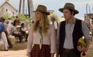 Seth MacFarlane and Charlize Theron in A Million Ways To Die In The West