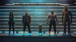 "Zoe Saldana, Chris Pratt, Bradley Cooper, Dave Bautista, and Vin Diesel in ""Guardians of the Galaxy"""