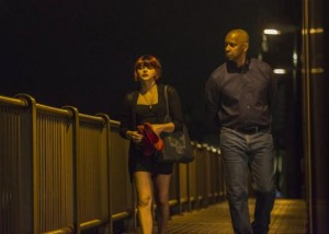 "Chloë Grace Moretz and Denzel Washington in ""The Equalizer"""