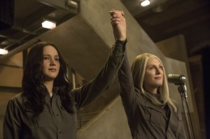 Jennifer Lawrence and Julianne Moore in The Hunger Games Mockingjay - Part 1