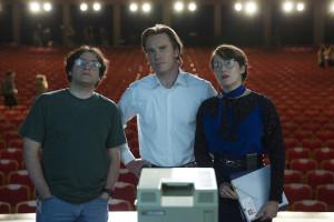 Michael Stuhlbarg, Michael Fassbender, and Kate Winslett in Steve Jobs