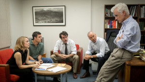 Rachel McAdams, Mark Ruffalo, Brian d'Arcy James, Michael Keaton, and John Slattery in Spotlight