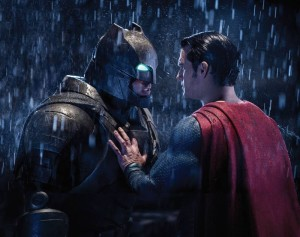 Ben Affleck (Batman) goes face to face with Henry Cavill (Superman) in Batman v Superman: Dawn of Justice